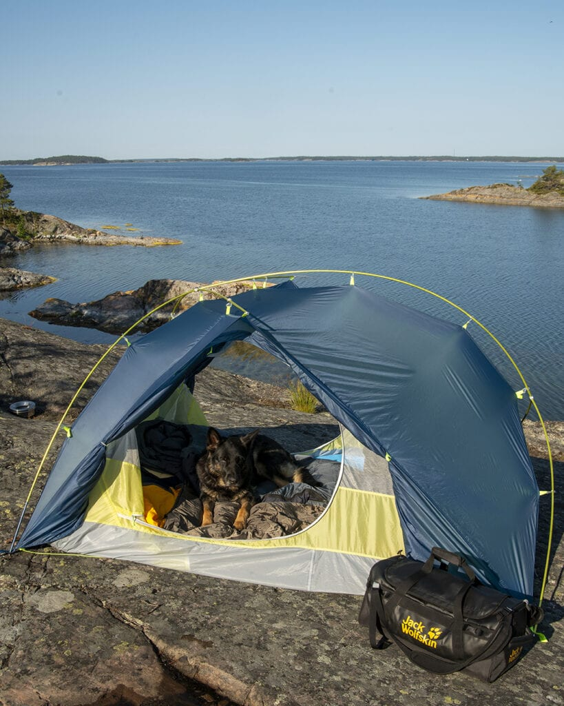 Jack Wolfskin Exologht III camping with dog