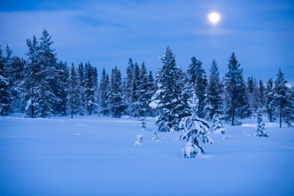månsken över Hållan i Funäsdalen