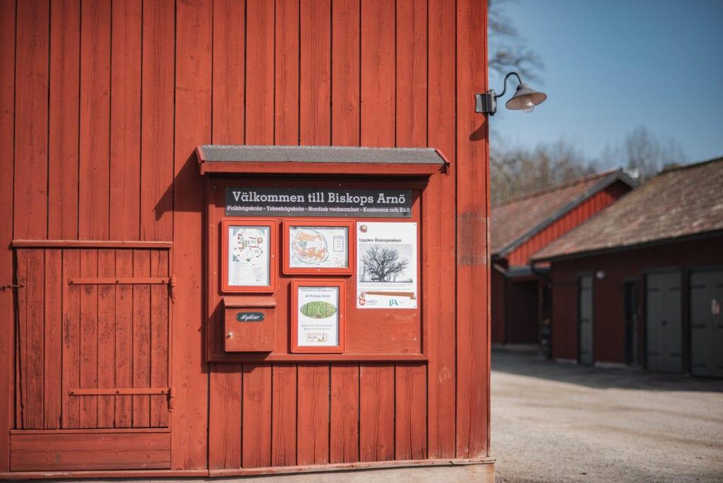 Folkhögskola Biskops Arnö karta över vandringsled