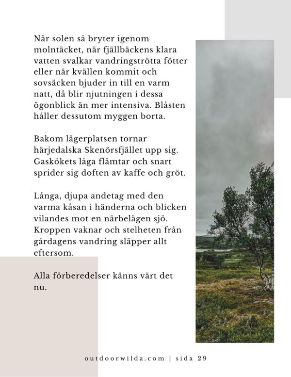 Krönika del 2 ur bok om Fjällvandring av Wilda Nilsson