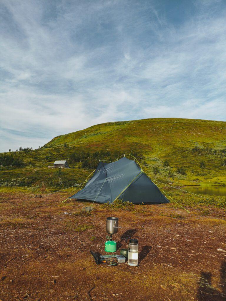Tält och stormkök i Tänndalen