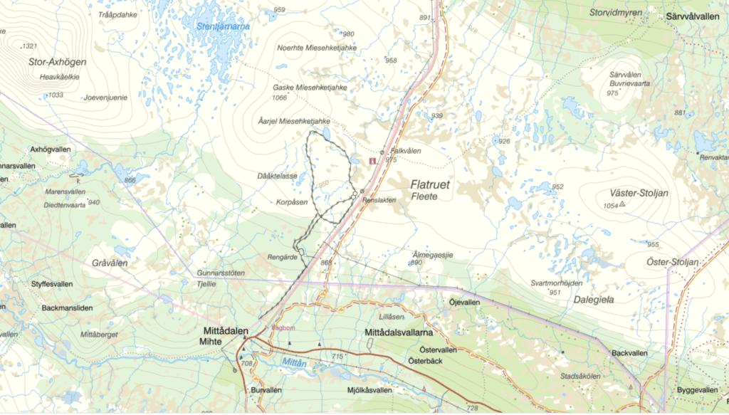 Karta från Lantmäteriet över Flatruet