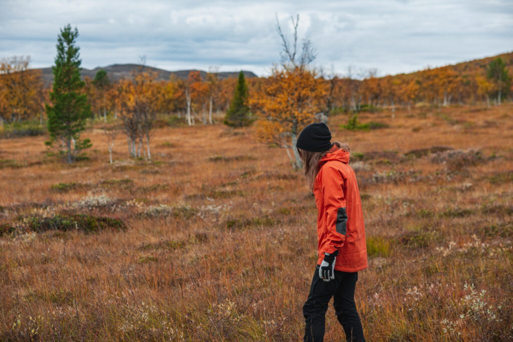 Fjällräven Bergtagen Ecoshell i fjällen på hösten